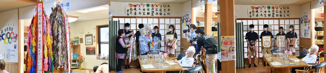 江津高校ハンドボール部の生徒さんに、デイサービスの75~100歳の利用者様が一生懸命に折った千羽鶴を、全国大会での活躍を祈って寄贈させていただきました。 よろこぼう屋
